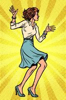 Beautiful young business woman dancing