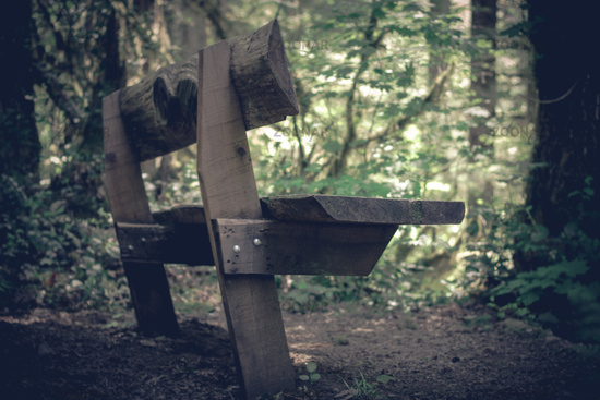 Timber built public bench seen at the edge of a wooded area.