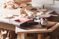 Wooden leftovers at the carpentry workshop indoors