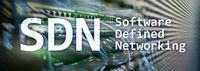 SDN, Software defined networking concept on modern server room background.
