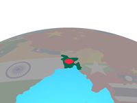 Map of Bangladesh with flag on globe