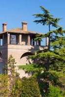 Duca s tower location Arquato castle  Piacenza Italy