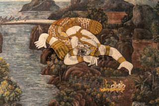 Golden giant in Wat Phra Kaew mural