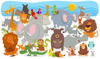cartoon animal characters group background
