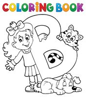 Coloring book girl and pets by letter B