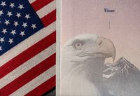 US Passport on visa page as concept for ETIAS check in EU