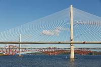 The new Queensferry Crossing bridge over the Firth of Forth with the older Forth Road bridge and the