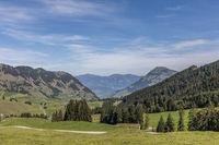View of Lake Lucerne in the valley, Nidwalden, Switzerland, Europe
