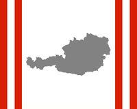 Fahne und Karte von Österreich in Rahmen - Gray map and flag of Austria in frame