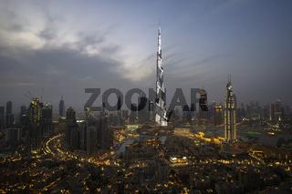 Night illumination on the Burj Khalifa in Dubai