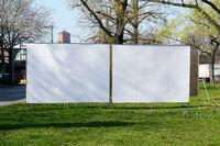 two realistic blank billboards side by side