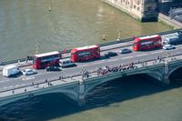 Westminster Bridge from above with London Buses