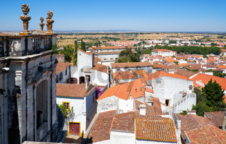 The view of residential houses surrounding the Evora Cathedral (Se). Evora. Portugal