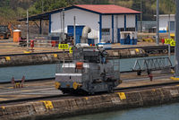 electric locomotive also known as a mule in miraflores locks on panama canal panama city