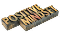 positive mindset word abstract in wood type
