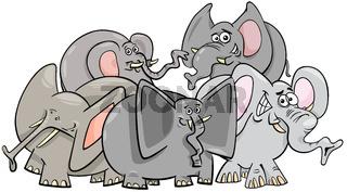happy elephants cartoon character group