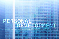 Personal development and growth concept of double exposure background.