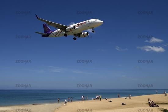 Landing Approach, Mai Kao Beach, Phuket, Thailand