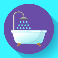 Bathtub with shower flat icon vector. Water treatments, take a bath or relax in the bathtub vector illustration.