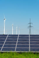 Electricity pylons, solar panels and wind engines seen in Germany