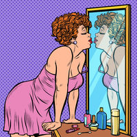 woman in nightgown kissing her reflection in the mirror