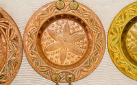 Plate, Hand-designed copper utensils for working in the kitchen, dishes, pots, pans and cauldrons