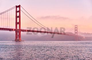 Golden Gate Bridge at sunrise, San Francisco, California