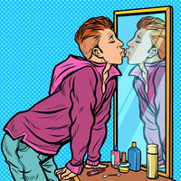 a man kisses his own reflection, narcissism ego selfishness