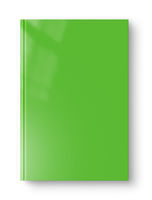 Closed green blank book isolated on white