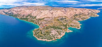 Stara Baska. Aerial panoramic view of Stara Baska village and stone desert landscape of Krk island