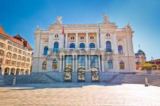 Zurich opera house and Sechselautenplatz town square view,