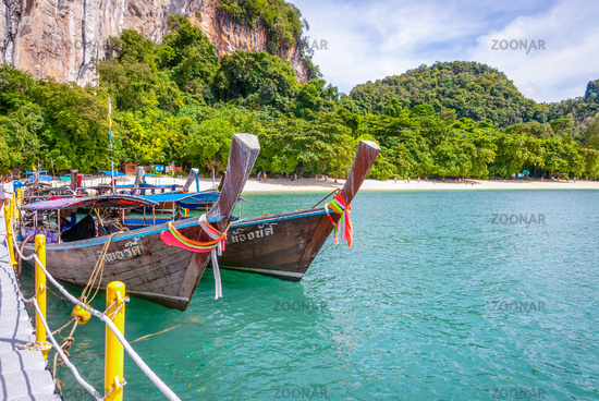 Typical thai boats over the sandy beach