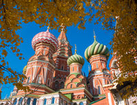 View from the autumn trees on St. Basil's Cathedral