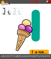 letter I worksheet with cartoon ice cream