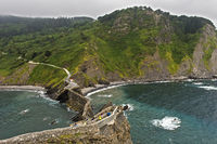 Cliff coast of the Bay of Biscay opposite the islet Gaztelugatxe near Bakio, Costa Vasca, Spain