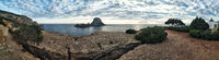 Panoramic view of the mysterious island of Es Vedra. Ibiza Island, Spain
