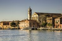 Panoramic view Murano island in the Venetian lagoon