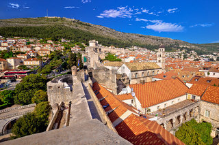 View from Dubrovnik city walls on red rooftops of old town