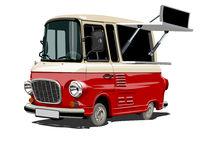 Cartoon retro food truck