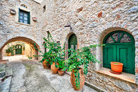 Traditional houses in Vessa of Chios, Greece