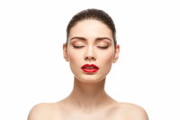 girl with red lipstick isolated on white