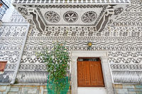 Traditional houses decorated with the scratch patterns in Pyrgi of Chios, Greece