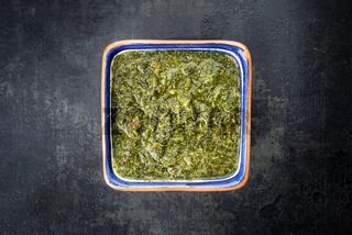 Traditional Columbian chimichurri sauce aji criollo with chili