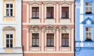 Antique buildings facade in Prague