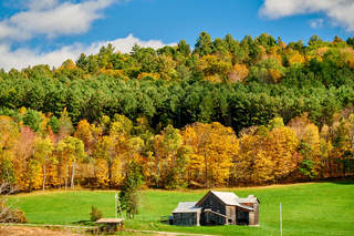 Autumn landscape with old house