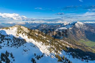 Blick vom Gipfel des Wendelstein auf die Alpen
