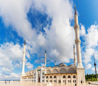 Camlica Mosque in the blue sky of Istanbul, Turkey