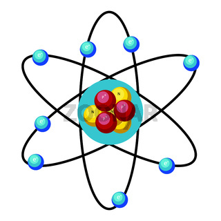 Simple atom design vector illustration on white background.