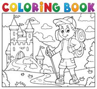 Coloring book hiker boy topic 2