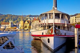Lucerne waterfront steamboat and architecture view